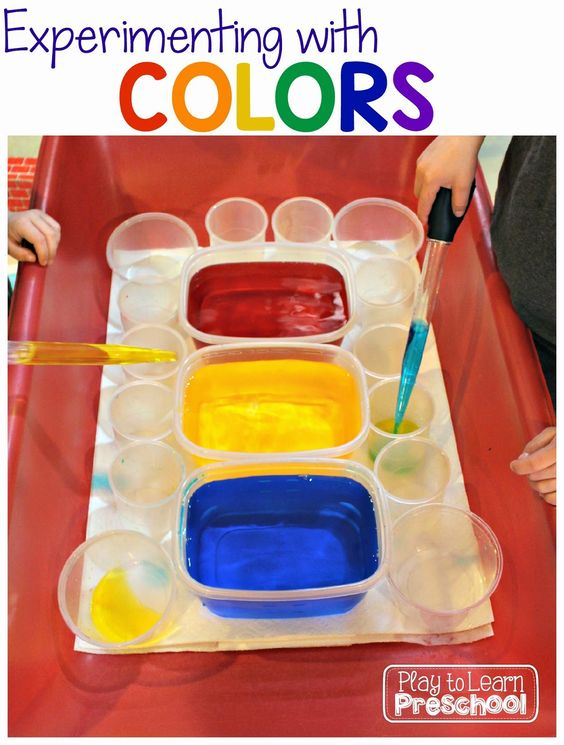 color mixing activity with food coloring
